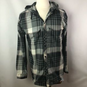 Burton grey plaid hood buttoned jacket shirt Sz M